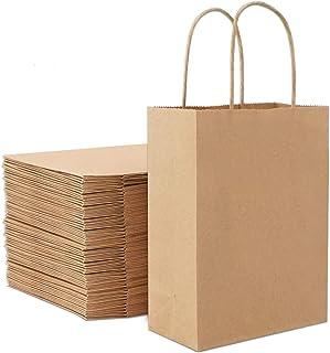 Sachet Cadeau Pochette Emballage Aliment Biscuits Qiwenr 100Pcs Sac Cadeau Papier,Sac Papier Kraft /à Fond Marron pour No/ël Anniversaire Mariage F/ête Multicolore et Mod/èle Sacs en Papier Bonbons