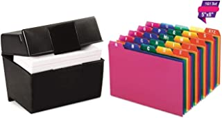 1InTheOffice Index Card Box 5x8 inch, Index Card Holder 5x8 400 Capacity & Index Card Guide Set, A-Z, 1/5 Tab,