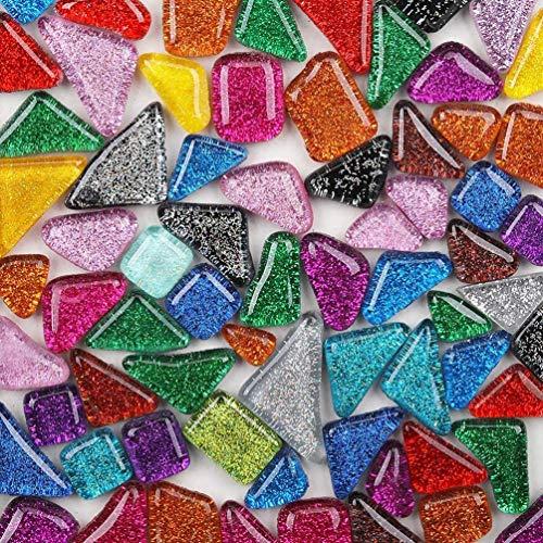 Piastrelle di mosaico di vetro di colore misto, pezzi di vetro irregolari per la decorazione domestica o artigianato fai da te 200g