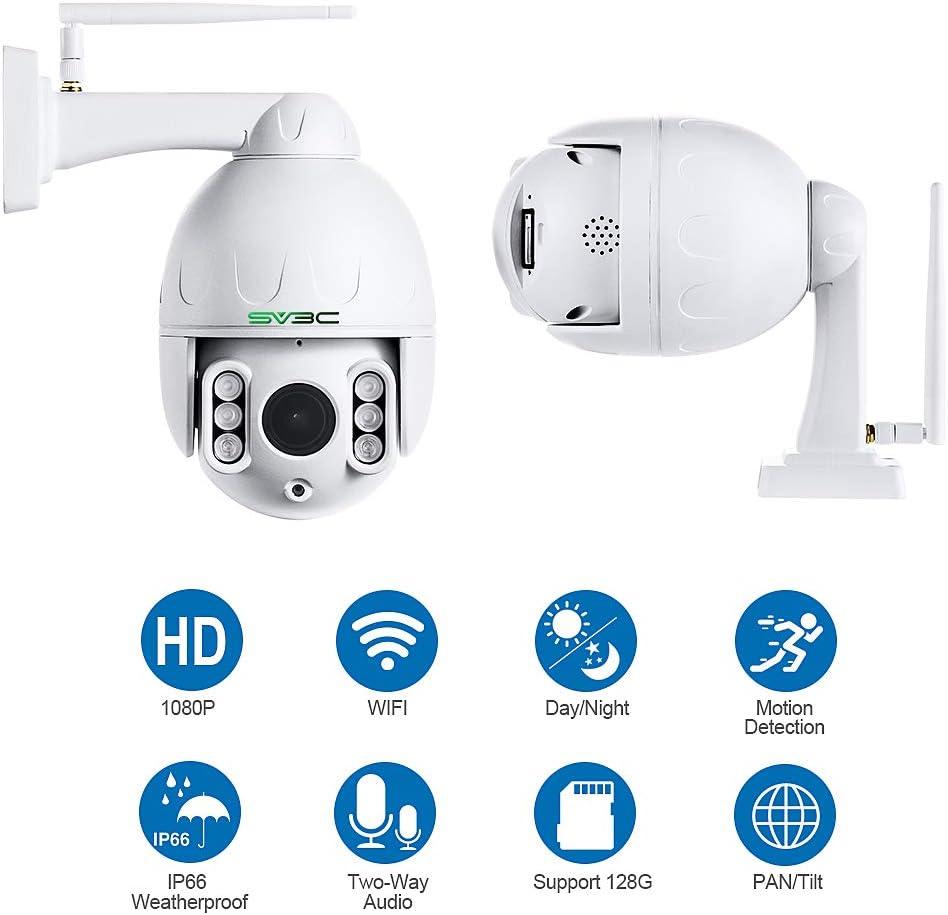 SV3C 1080P HD Outdoor IP Camera Wireless ONVIF Waterproof PTZ WiFi Camera Outdoor SD Card Slot Pan Tilt 5X Zoom Humanoid Motion Detect Camera 2-Way Audio,196ft Night Vision Upgraded Version