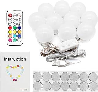 Yuhtech Kits de luces de espejo de vanidad, luces de maquillaje LED con 10 bombillas regulables para maquillaje Tocador con brillo ajustable (10 Bulbs + Remote Control + 3m Tape)