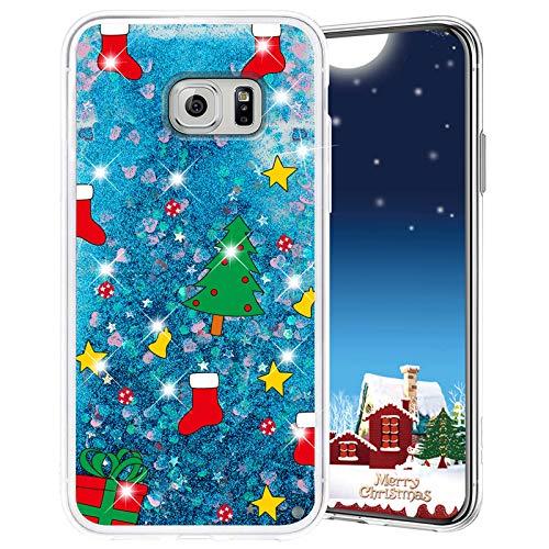 Misstars Weihnachten Handyhülle für Galaxy S7 Edge, 3D Kreativ Glitzer Flüssig Transparent Weich Silikon TPU Bumper mit Weihnachtsbaum Muster Design Anti-kratzt Schutzhülle für Samsung Galaxy S7 Edge
