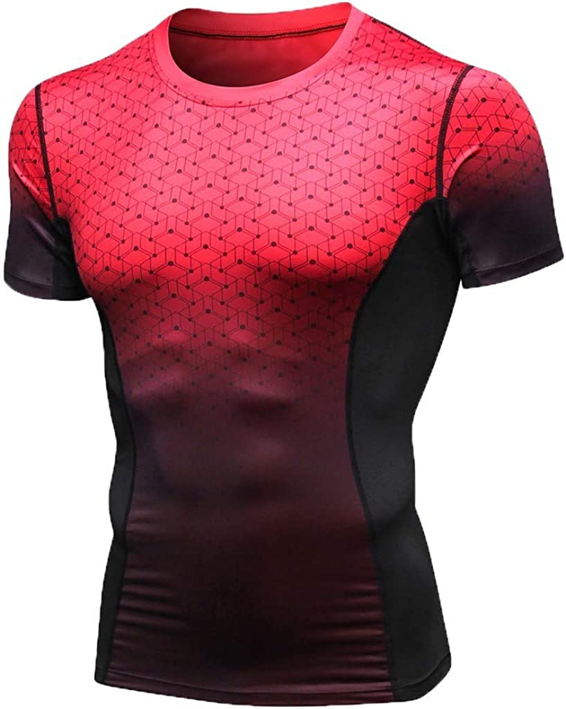 MODOQO Shirt for Men,Casual Sports Quick-Dry Wicking Breathable Short Sleeves Top