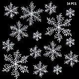 ZoneYan Copos de Nieve Navidad, Copos de Nieve Decoracion, Copos de Nieve Blancos, Adornos de Copo de Nieve, Copos de Nieve Decoracion Frozen, CREA una Decoración de Ambiente Temático