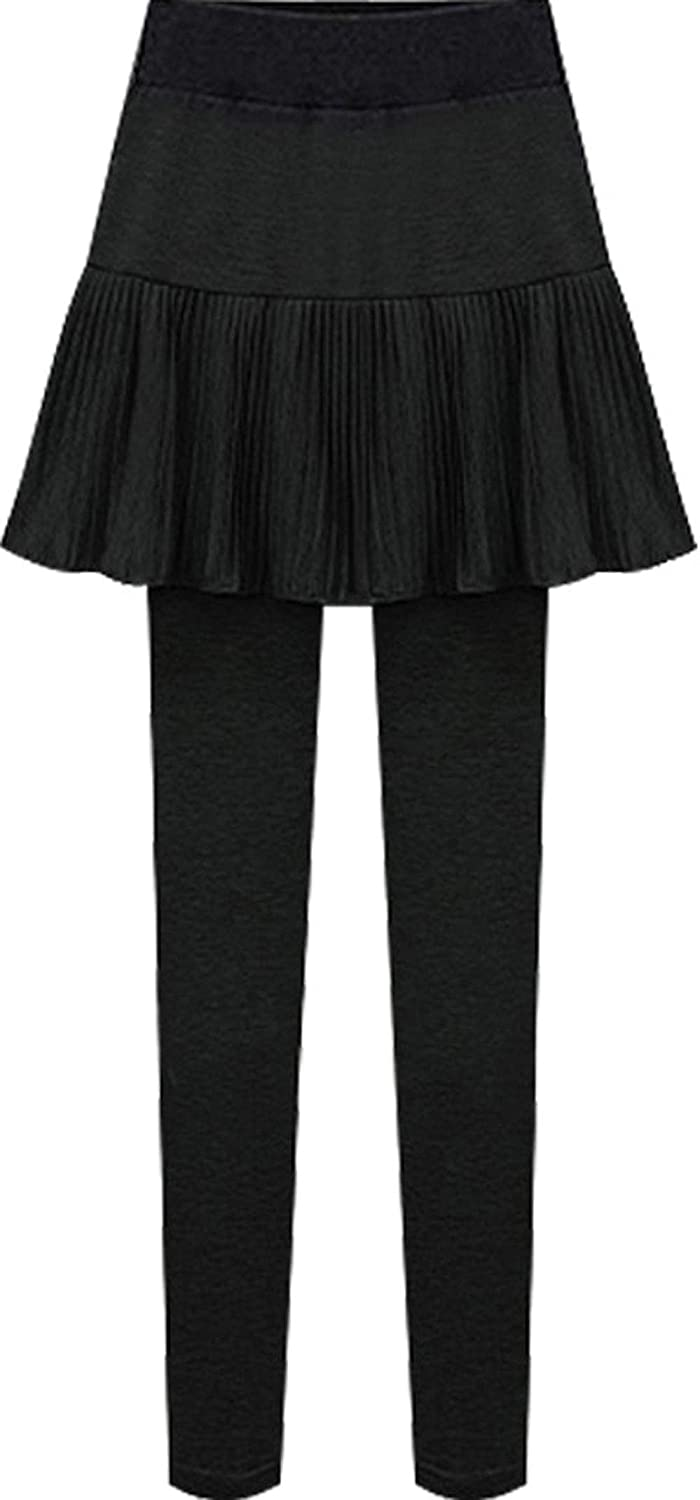 chouyatou Women's Casual Stretched High Waist A Line Pleated Skirts with Legging