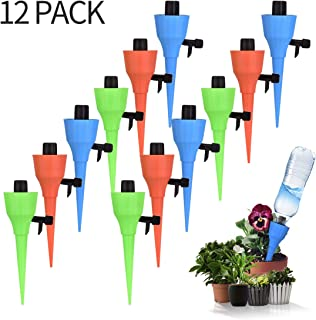 Automatic Watering Spikes, COOIEPA Self Waterer Irrigation Drippers Plant Watering Drip System with Adjustable Slow Release Valve for Outdoor Indoor Garden Lawn Potted Plant Flower Vegetables, 12 Pack