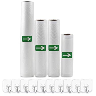 Vacuum Sealer Bags Rolls (Fits Inside Machine) - 4 Pack (6  x 16.4' /8  x 16.4'/11  x 16.4') Heavy Duty Vacuum Food Storage Saver for Foodsaver and Other Savers, Work with FoodSaver Vaccum Sealer and Sous Vide Cooking, BPA Free