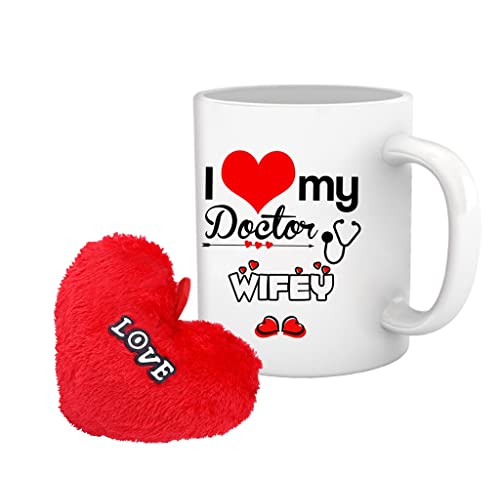 TIED RIBBONS Valentine Gift for Wife I Love My Doctor Wife Printed Coffee Mug with Heart Shape Cushion