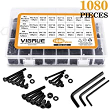 VIGRUE M2 M3 M4 Alloy Steel Socket Head Cap Screws Nuts Set 1080pcs Assortment Kit with Storage Box, Three Hex Wrenches Included (1080 PCS)