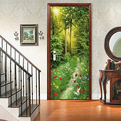 ULOJFWD Niños Dormitorio Puerta Metope para Decorar Hierba, sol, verde 85 X 215 CM 3D Vinilo autoadhesivo de bricolaje imágenes de pared extraíbles para dormitorio o salón