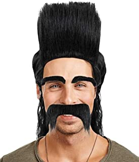 Halloween Party Online Animation 80s Rock Black Mullet Punk Wig and Moustache Set, Adult Hm-122