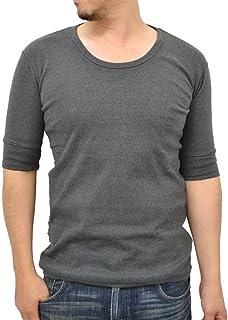 [アヴィレックス] ストレッチ Uネック 無地 5分袖 Tシャツ