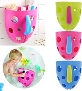 Baosity Bathroom Wall Sucker Kids Bath Toys Storage Basket Shower Toys Scoop -Pink