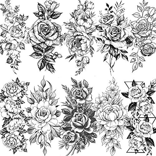 LAROI 10 Blätter Große realistische Rose Pfingstrose Blume Temporäre Tattoos Erwachsene Frauen Wasserdicht Schwarz Tattoo Aufkleber 3D Blüte Damen Schulter Tattoos Rosen DIY Große Tattoos Sexy Arm