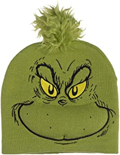 Grinch Big Face Embroidered Winter Hat Green