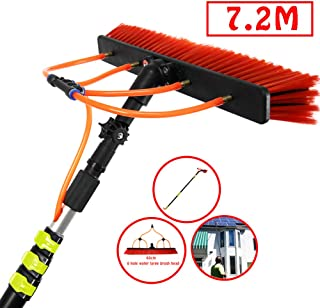 HUINING 3.6-11M Window Clean Washing Set Equipment Telescopic Extension Pole Cleaning Kit for Cars, Caravan, Truck, Campers and Buses Water Brush,7.2m