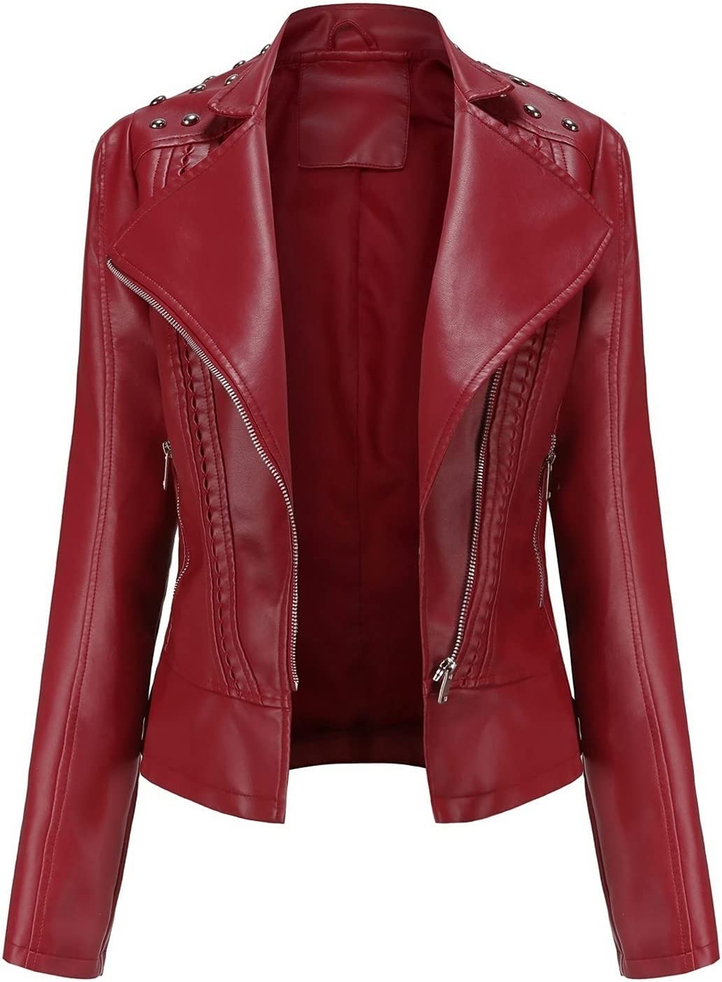CRMY Women's At the price of surprise Jacket Motorcycle Imitation Leath Coat Faux Leather OFFicial shop