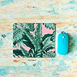 HGOD DESIGNS Gaming Mouse Pad Banana Leaf,Tropical Green Leaves Pink Background Mousepad Rectangle Non-Slip Rubber Mouse Pads(7.9'X9.5')