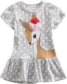 Jxs Neat Kids Baby Short-Sleeved Dress Embroidered Cotton Unicorn Girls Dresses Summer Kids Dresses SH6496