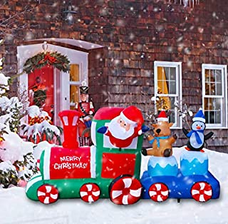 Megaction 8 Foot Christmas Inflatable Cute Santa Train with Elk and Penguin- Yard, Home Party Blow Up Decoration