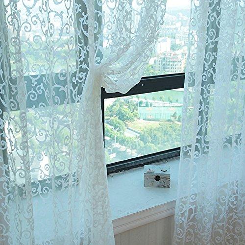 osierr6 Cortina de Tul Transparente para Ventana, diseño Floral, para el hogar, Sala de Estar, recámara, Ventana, decoración de Ventana
