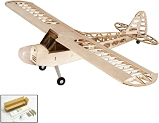 Balsa Wood Electric Airplane 1.2M Piper Cub J3 by DW Hobby;Wood Laser-Cutting J3 Remote Control Aeroplane for Adults; RC Unassembled Flying Model for Fun (S0801)