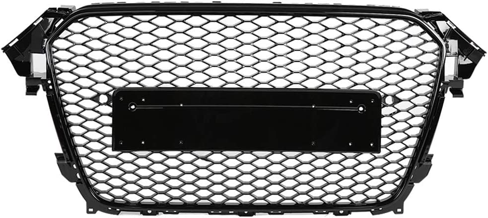 RS4 Style Front Quality inspection Sport Hex Mesh Finally popular brand Gloss Black Grill Hood Honeycomb