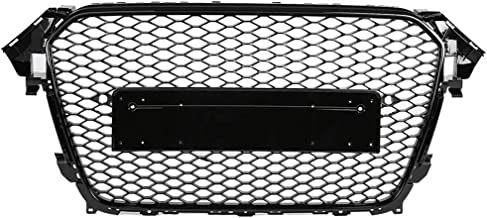 Hlyjoon Hex Mesh Honeycomb Hood Grill RS4 Style Car Front Sport Hex Mesh Honeycomb Bumper Grills Gloss Black for A4 / S4 B8.5 2013 2014 2015 2016