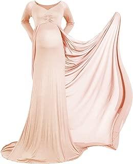 R/üschen Off Shoulder Kleid Lang Umstandskleider Hochzeit Fotografie Schwangerschaftskleid Umstands Strandkleid Elegantes Kleider f/ür Festliche Anl/ässe Rosa Cocktailkleid Abendkleid Chiffon