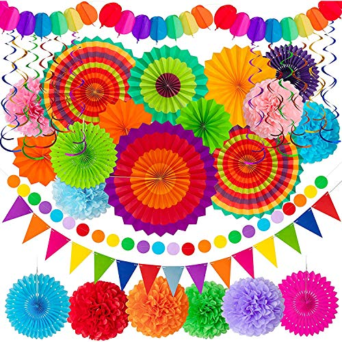 33 Pcs Paper Pom Poms Set Colorful Paper Hollow Fans Hanging Swirls Colorful Garland Triangle Bunting Circle Paper Garland for Birthday Party Christmas Mardi Gras Wedding Home Decorations