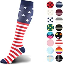 HLTPRO Graduated Compression Socks for Women & Men 20-30 mmHg - Moderate Compression Stockings for Running Crossfit Travel- Suits Nurse Maternity Pregnancy Shin Splints (Independence Day L-XL)