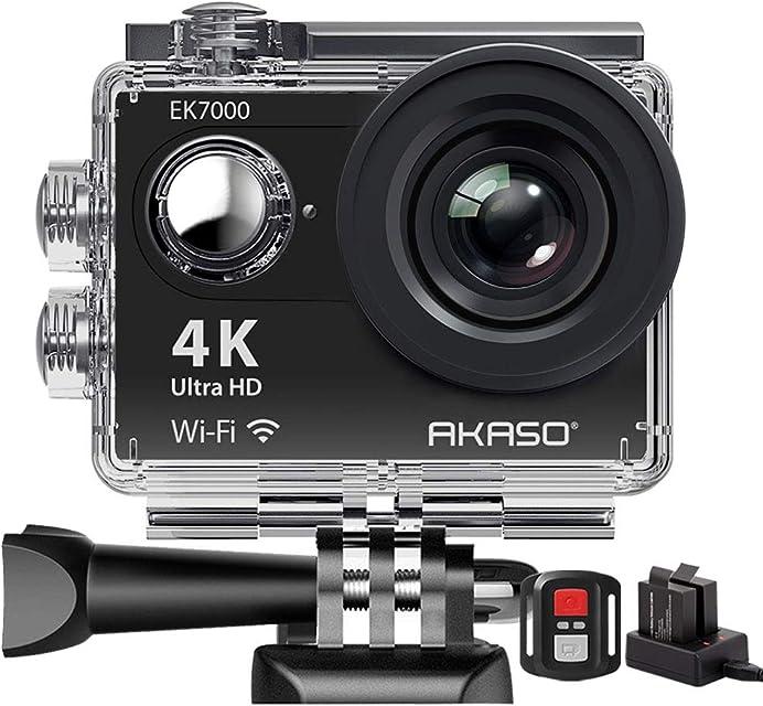 AKASO SY0004 - Camara de accion deportiva WIFI 170° Ultra amplio Full HD con 12MP Sumergible Negro