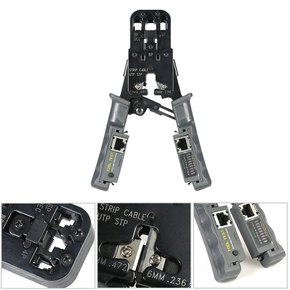 LHFSM Herramienta Herramienta Que Prensa RJ45 de Red Ethernet Cable Tester Cable Crimp Ethernet por Cable Cortador del Separador del Conector de Red for prensar 4P, 6P, 8P, RJ11, RJ12, RJ45: Amazon.es: