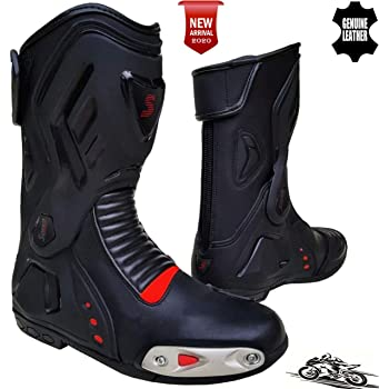 Speed MaxX Mens Black /& RED Motorbike//Motorcycle//Motocross CE Racing Leather Shoes//Boots 11 UK