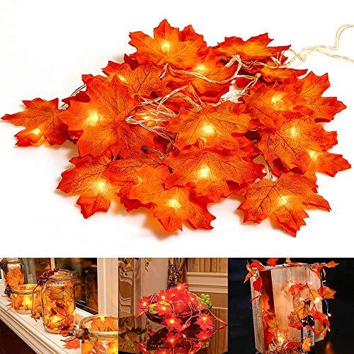 Ideapark Herbst Deko, Ahornblatt Lichterketten Herbstgirlande Herbst Blättergirlande 20-Lichtern für Erntedankfest Deko& Weihnachtsbeleuchtung