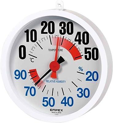エンペックス気象計 温度湿度計 防雨型温湿度計 壁掛け用 日本製 ホワイト TM-2680