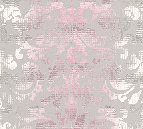 A.S. Création Vliestapete Reflection Tapete mit Ornamenten barock 10,05 m x 0,53 m grau metallic lila Made in Germany 319955 31995-5