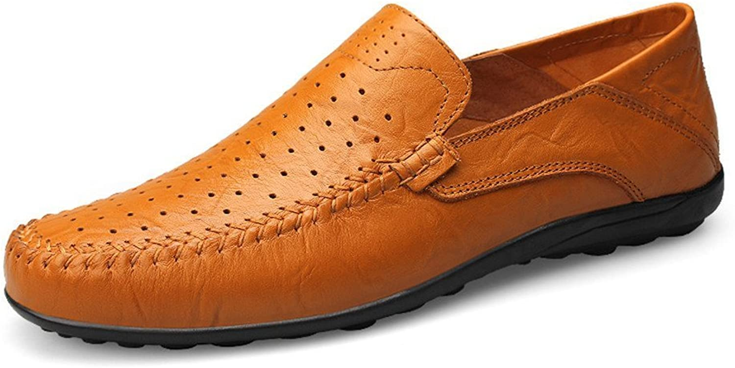 Men's Fashion Design Soft Casual Moccasins Slip On Driving Loafer Slipper (color   Yellow Brown Hollow Vamp, Size   11 D(M) US)