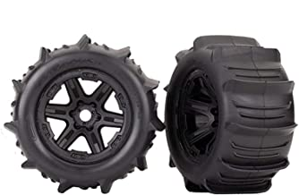 Traxxas 8674 - Tires & Wheels, Assembled, glued (Black 3.8' Wheels, Paddle Tires, Foam Inserts) (2) (TSM Rated)