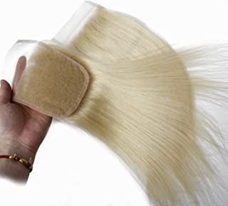 Forawme Soft Remy Brazilian Hair Pre Plucked Free Part Lace Closure Human Hair 4X4 8 Inch Bleached Knots Straight Clousre 613 Blonde Hair