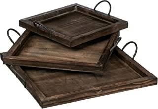 Sullivans N1730 Square Nested Dark Wood Trays with Metal Handles, Brown, 16 to 22 Inches Each, Set of 3