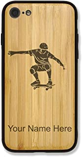 Case Compatible with iPhone 7 and iPhone 8, Skateboarding, Personalized Engraving Included (Bamboo)