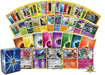 100 Assorted Pokemon Cards - 1 GX EX or V  170 HP or Higher  Pokemon Ultra Rare 2 Rares 2 Holographics 90 Common/Uncommons and 5 Energy Cards - Includes Golden Groundhog Deck Storage Box!