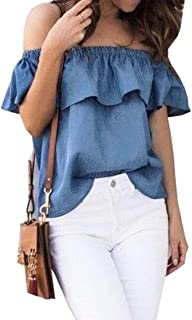ICOOLTECH Women's Off Shoulder Boho Shirt Loose Blouses Casual Crop Tops
