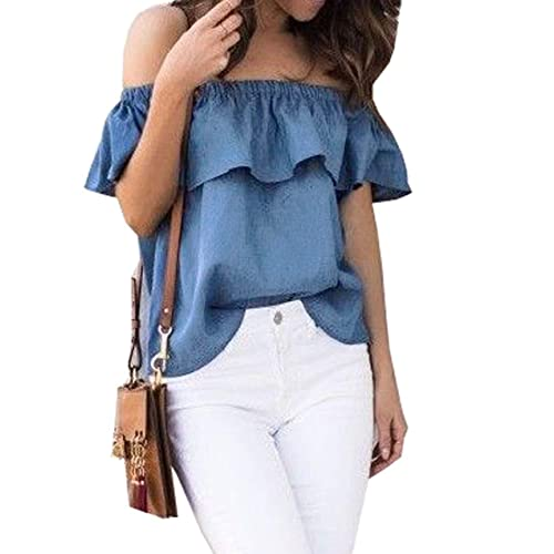 2bdde74bec89c ICOOLTECH Women s Off Shoulder Boho Shirt Loose Blouses Casual Crop Tops