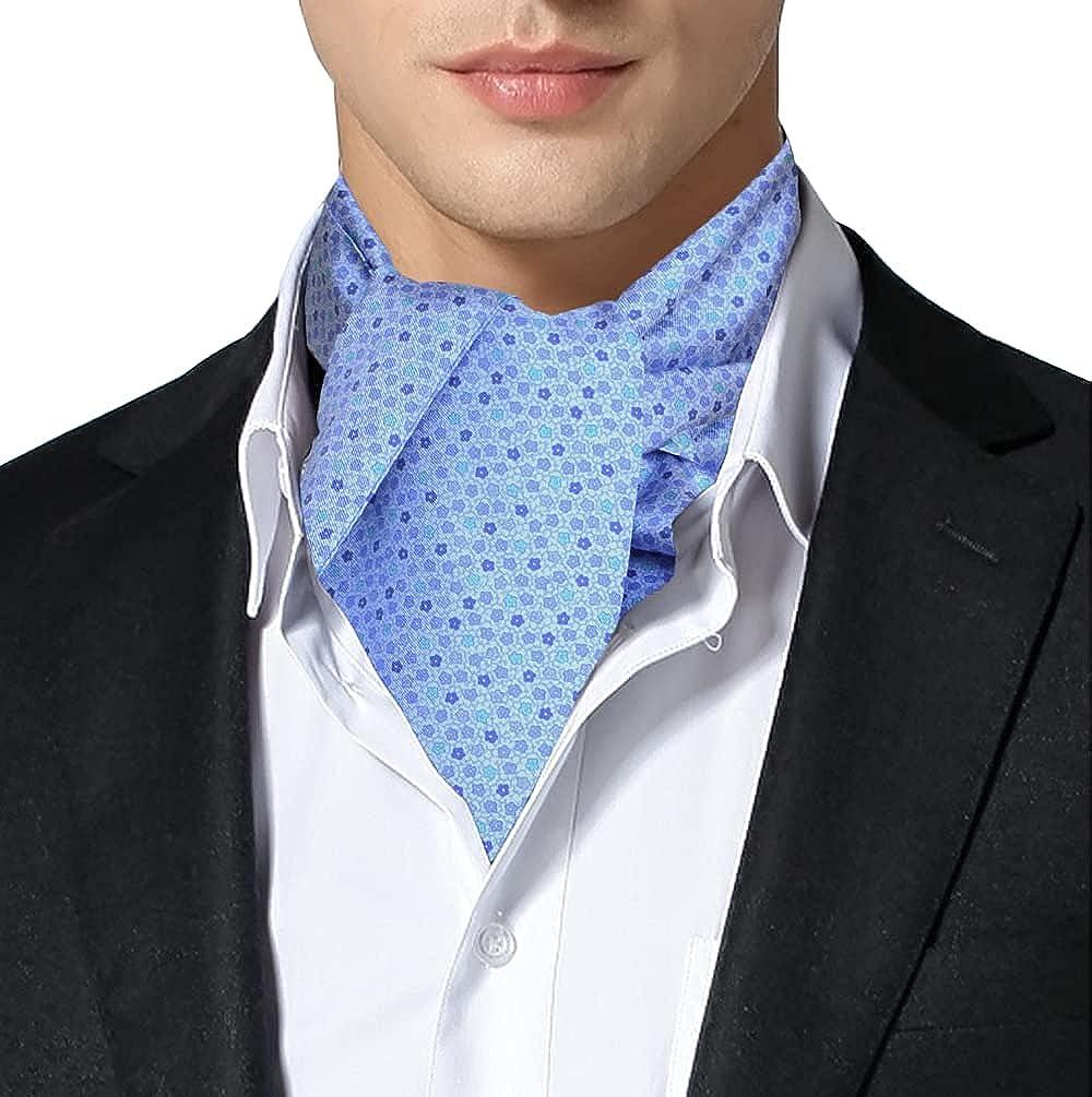 Remo Sartori Made in Italy Men's Flower Pattern Self Cravat Ascot Tie, Silk
