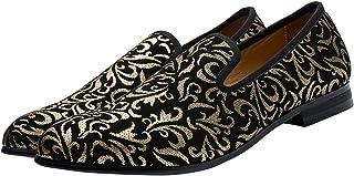Chaussures en Velours pour Hommes, Impression Dorée Mocassins Slip-on Casual Loafer Pantoufle Noir