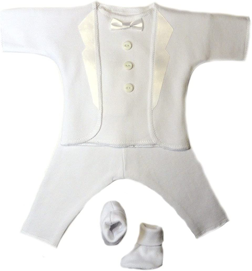 Jacqui's Baby Boys' All White Tuxedo Suit 4 Piece Set