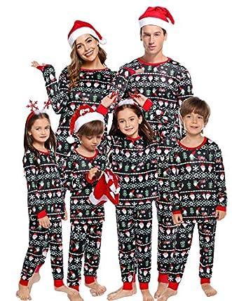 Aibrou Pijamas de Navidad Familia Conjunto Algodón Ropa de Dormir Otoño Invierno Mujere Hombre Niño Bebé