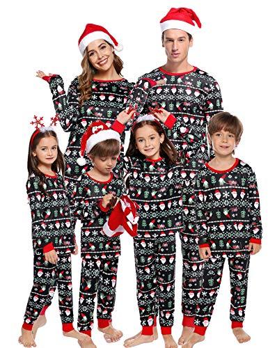 Aibrou Kinder Weihnachten Festlich Schlafanzug lang Rundhals Xmas Pyjama Set, Langarm Shirt und Pyjamahose Rot 115-125 (empfolen: 7-9 Jahre Alt)